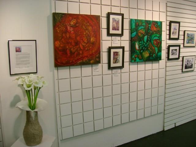 Lena Rasmussen Art show Rock and Barnacle paintings, jelly fish paintings,  Nanaimo, BC